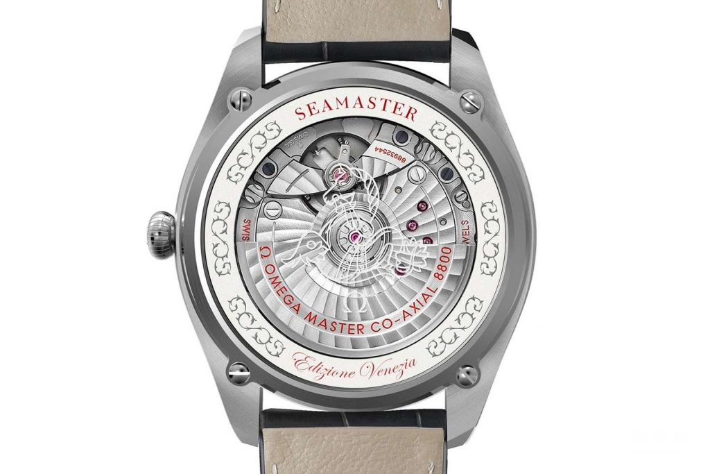 The impressive movement  is visible through the transparent sapphire crystal caseback.