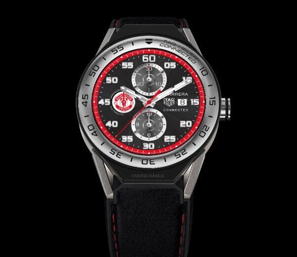 The red seconds hand and red minute track are very striking on the black dial.