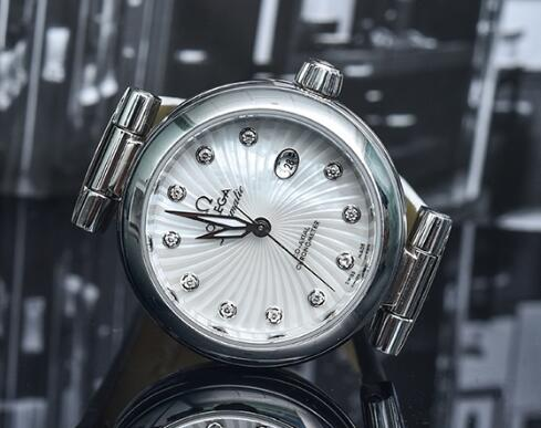 The diamonds on the dial add a feminine touch to the Omega De Ville